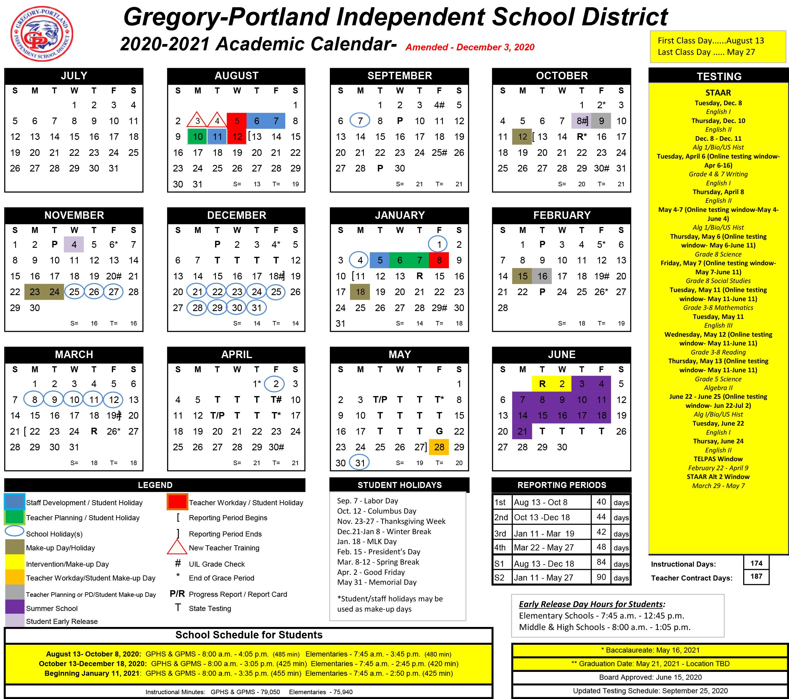 Portland Public Schools Calendar 2022.District Calendar 2020 21 Gregory Portland Independent School District