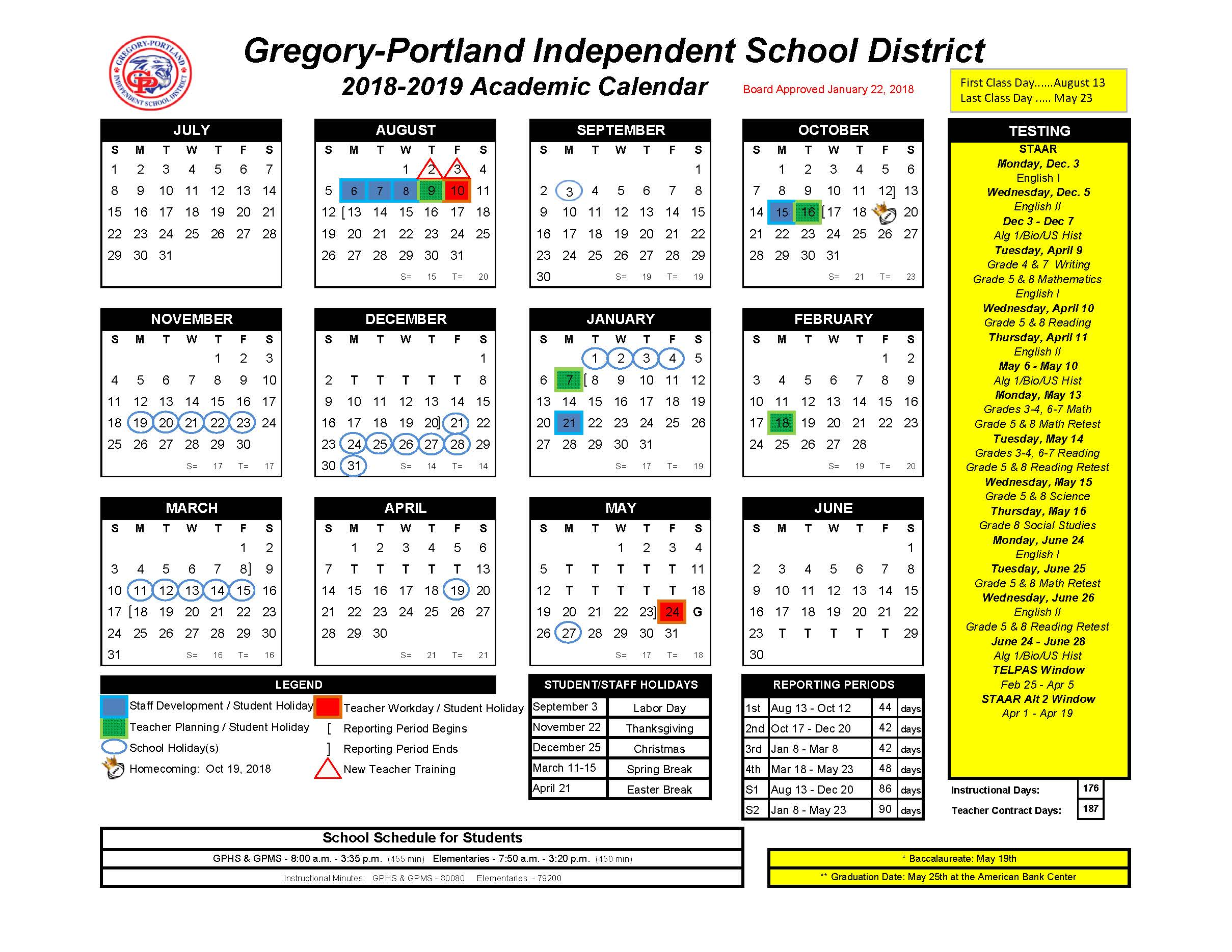 District Calendar, 2018 19   Gregory Portland Independent School