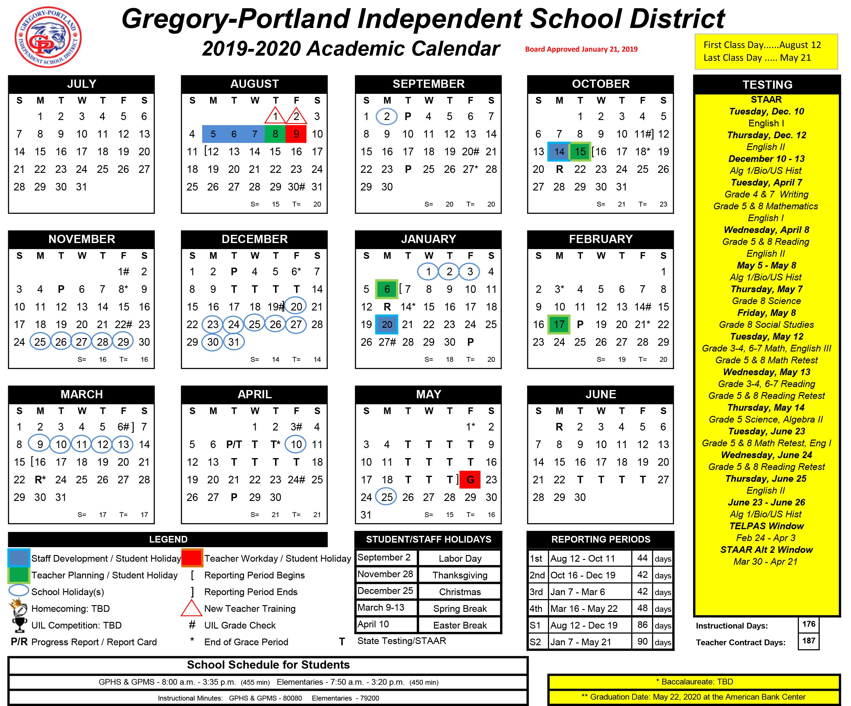 Ut Austin Calendar Spring 2020.District Calendar 2019 20 Gregory Portland Independent
