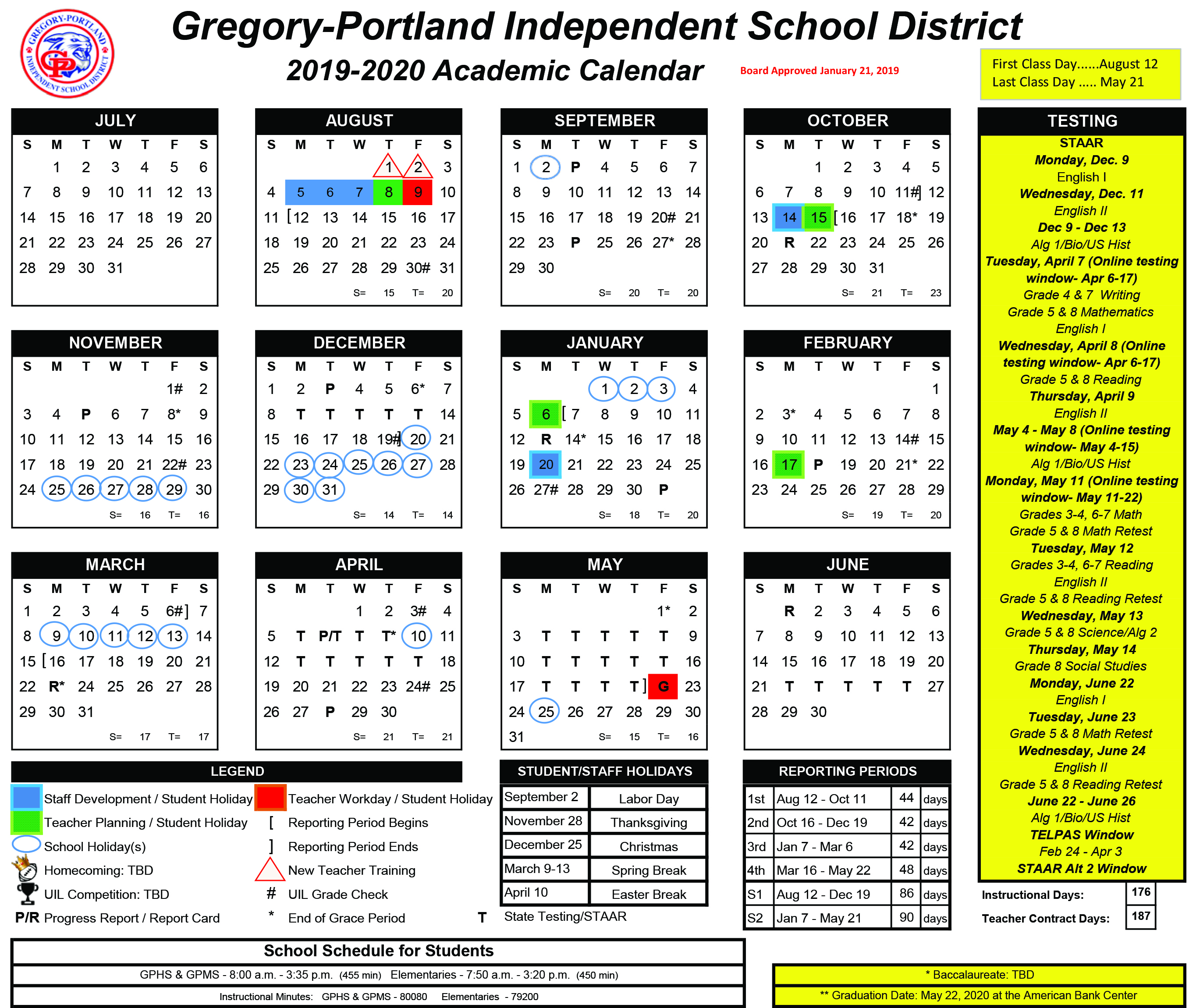 Austin Events Calendar 2020 District Calendar, 2019 20   Gregory Portland Independent School
