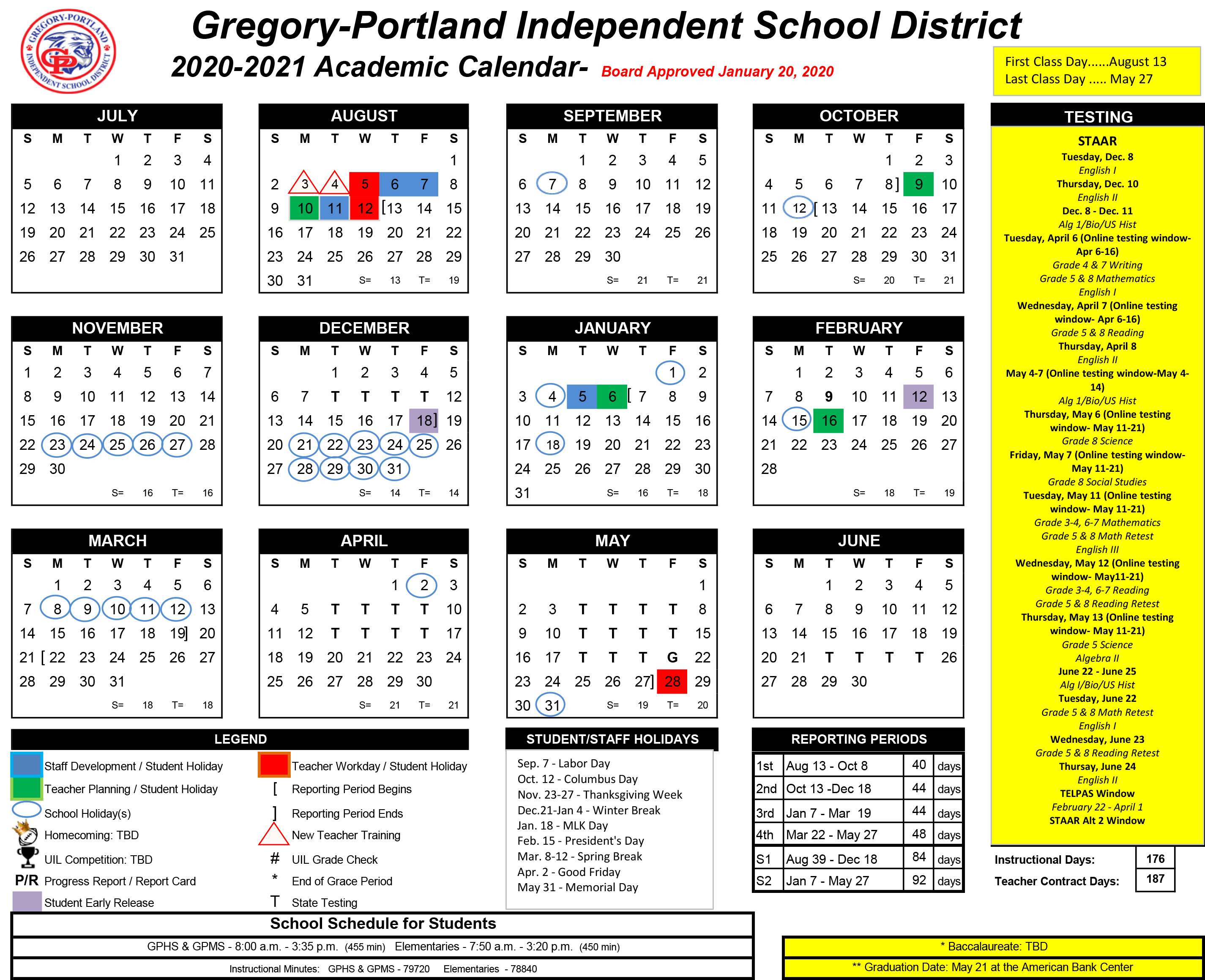 District Calendar, 2020-21 - Gregory-Portland Independent ...