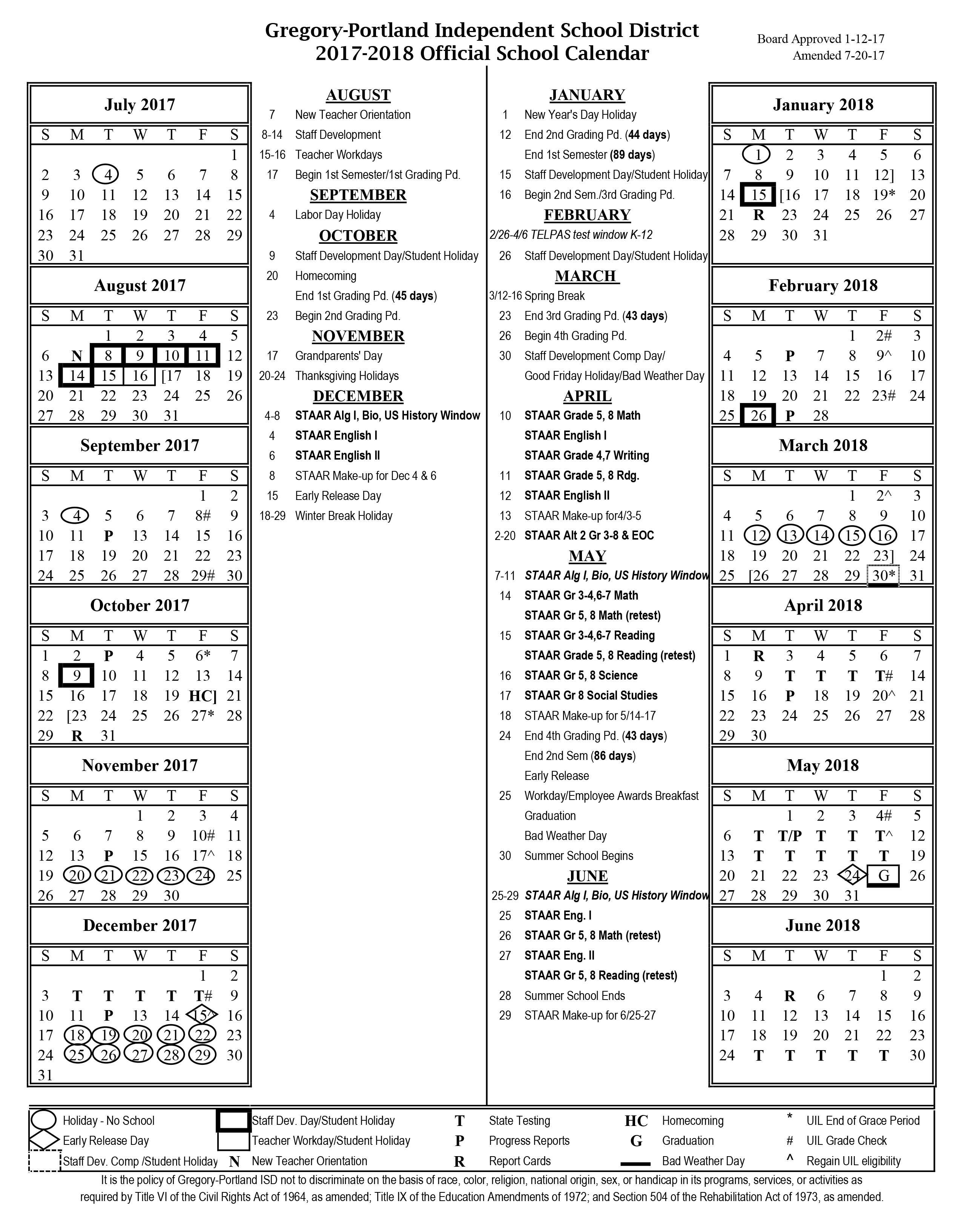 District Calendar, 2017 18   Gregory Portland Independent School