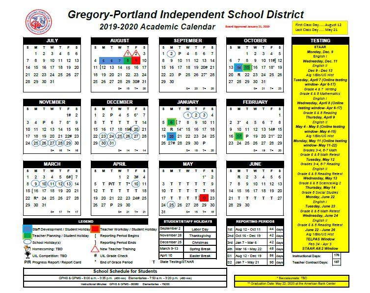District Calendar, 2019 2020   Gregory Portland Independent School