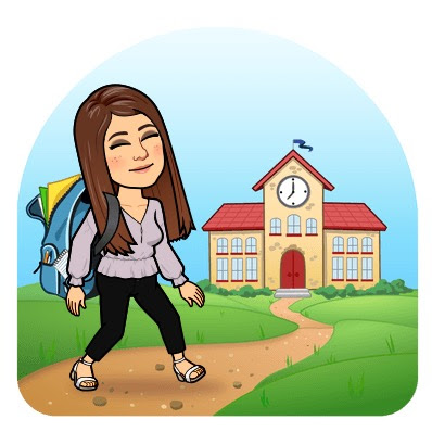 bitmoji character walking to school